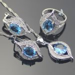 925 Sterling Silver <b>Jewelry</b> Sets Natural Blue Rhinestones Earrings/Pendant/Necklace/Rings For Women