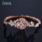 ZAKOL New Luxury Chandelier Flower Chain Link Bracelets for Elegent Women Marquise CZ Brincos Bridal Wedding <b>Jewelry</b> FSBP2040