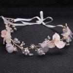 Elegant Gold Hair <b>Jewelry</b> <b>Handmade</b> Pink Flower Crystal Pearl Wedding Headband tiara Bride Hair Accessories Women Accessories