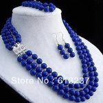 Fashion Style 3 rows 8mm round beads lapis lazuli stone <b>making</b> necklace bracelet earring sets MY4556
