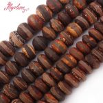 8×12,10x14mm Stripe Frost Brown Rondelle Old Agates Beads Stone Beads For DIY Necklace Bracelet <b>Jewelry</b> <b>Making</b> 15″ Free Shipping
