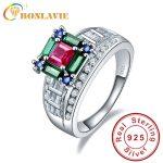 BONLAVIE Garnet Emerald Peridot Gem Stone Rings 925 <b>Sterling</b> <b>Silver</b> bijoux anel female Ring for Women Fine <b>Jewelry</b> With gift box
