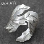Fyla Mode 42g New Fashion Bangle Wide Cuff Opened Antique Thai <b>Silver</b> Leaf <b>Bracelet</b> Cuff Factory Price For Wholesale PKY324