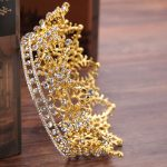 Vintage Gold Color Round Large Gold Crown tiara For Wedding Hair Accessories Head Crowns Headpiece Hair <b>Jewelry</b> hair ornaments