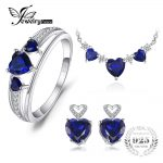 JewelryPalace Heart Love 4.5ct Created Sapphire Wedding Ring Chain Necklace Stud Earrings 925 <b>Sterling</b> <b>Silver</b> Nice Gift For Girl