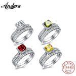 4 color Solid 925 Sterling Silver 2-Pcs <b>Wedding</b> Engagement Ring Set 1 Ct Princess Cut <b>Jewelry</b>