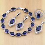 Rhombic Blue Crystal Jewelry White CZ 925 Sterling <b>Silver</b> Jewelry Sets Women Earrings/Pendant/Necklace/Ring/<b>Bracelet</b>