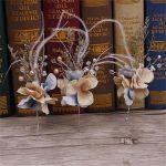 CC <b>Jewelry</b> Hair Stick Tiara 3pcs Set Bridal Hair Accessories For Women <b>Handmade</b> Flowers Feather Wedding Decorations Bride 1878