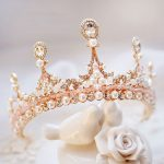 Delicate Enchanting Clear Crystal Rose Gold Color Crown Simulated Pearl Baroque <b>Jewelry</b> Tiaras For <b>Wedding</b> Bride Queen H-11-12