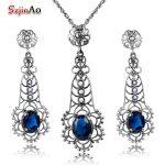 Szjinao Women 925 Sterling <b>Silver</b> Vintage Jewelry Set Party Pearl Charm Blue Stone Crystal Pendant <b>Earrings</b> Sets body jewelry