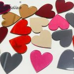 Red Heart Mirror Acrylic Decorative Slab For Women DIY Earring <b>Jewelry</b> Decor Stickers with a Resist film 25MM 50PCS/LOT 3colors