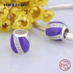 Fit pandora Charm Bracelets Silver 925 Original beads with CZ&purple enamel European diy fashion <b>Jewelry</b> <b>making</b> fo women gifts