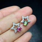 Natural red tourmaline Elegant earrings star stud earrings 925 <b>silver</b> natural green tourmaline earrings women party gift <b>jewelry</b>