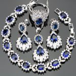 <b>Silver</b> 925 Wedding Costume Women Jewelry Sets Earrings/Pendant/Necklace/Rings Set With Blue Stones White Zircon Free Gift Box