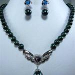 Women's Wedding New Design Black Pearl Necklace &Shell/gem Pendant Earring Set>AAA GP Bridal wide silver-