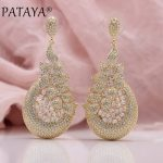 PATAYA New Women <b>Wedding</b> Party Luxury Noble Precious Fine <b>Jewelry</b> 585 Rose Gold Leaf Square Natural Zircon Long Stud Earrings