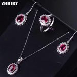 ZHHIRY Women Jewelry Sets Natural Pyrope Garnet Gemstone Genuine 925 Sterling <b>Silver</b> Set Ring <b>Earring</b> Pendant Chain Fine Jewelry