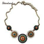 Shineland 2018 New Fashion Women Punk <b>Antique</b> BronzeColor Colorful Beads Pendants Chunky Chains Statement Necklace <b>Jewelry</b>