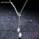 ANFASNI New Design 925 <b>Sterling</b> Siver AAA+ Cubic Zircon Geometrical Two Pearl Necklaces For Women Fine <b>jewelry</b> CGSNL0012-B