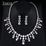 ZAKOL Sparkling Clear Water Drop Cubic Zirconia Earrings <b>Necklace</b> <b>Jewelry</b> Sets For Elegant Bridal Wedding Dinner Dress FSSP013