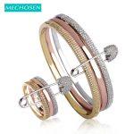 MECHOSEN Newest Bridal <b>Jewelry</b> Sets Bracelets Rings For Women Rose Gold-color Zirconia Bangles Copper Anillo Wedding Bijouterias