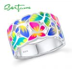 SANTUZZA <b>Silver</b> Ring For Women 925 Sterling <b>Silver</b> Butterflies Rings for Ladies Cubic Zirconia Ring Party Fashion <b>Jewelry</b> Enamel