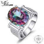 Huge 10ct Genuine Rainbow Fire Mystic Topaz Cocktail Concave Solid 925 Sterling <b>Silver</b> Ring <b>Jewelry</b> Brand Women New Fashion