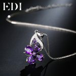 EDI Amethyst Real Flower 925 Sterling <b>Silver</b> Pendant Purple Crystal Clover 16 Inch Clavicle Chain Girls Necklace Fine <b>Jewelry</b>