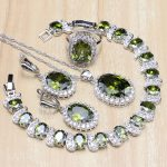 925 Sterling <b>Silver</b> Jewelry Olive Green Cubic Zirconia White CZ Jewelry Sets For Women Earring/Pendant/Necklace/<b>Bracelet</b>/Ring