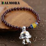 BALMORA Genuine 999 Pure <b>Silver</b> Jewelry Red Garnet Beads Monkey <b>Bracelets</b> for Women Girls Gift About 15cm Long Esposas WBH0040