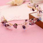 Purple flower hair <b>jewelry</b> popular <b>handmade</b> pearl tiaras soft headband fashion crown bridal wedding accessories women headpiece