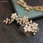 Jonnafe Gold Flower Leaf Hair Comb Bridal Headpiece Crystal Wedding Pearls <b>Jewelry</b> Hair Accessories