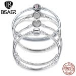 2018 New Collection 100% 925 Sterling Silver Heart Snake Chain Bracelet & Bangle 17CM 18CM 19CM 20CM Fine <b>Jewelry</b> For Women