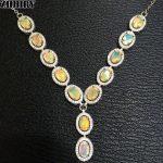 Natural Fire Opal Necklace Genuine Gem Color Stone 925 <b>Sterling</b> <b>Silver</b> Women Fantastic <b>Jewelry</b>