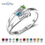 Family Ring Personalized <b>Jewelry</b> Engrave Name Custom Birthstone 925 Sterling Silver Ring Parents And Children(JewelOra RI102505)