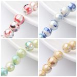 1Strand 8mm Handmade Porcelain Ceramic <b>Jewelry</b> <b>Making</b> DIY Round Beads Strand, Pearlized, Hole: 2mm; about 36~40pcs/strand, 12.5″