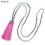 KELITCH <b>Jewelry</b> Romantic Pink Tassel Necklace <b>Handmade</b> Boho Summer Friendship Necklace with Strand Beads Long Chain Bijoux