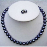 "Wedding Woman AA 18"" 9-10MM Black Freshwater Pearl Necklace Set Earring Real Natural Pearl <b>Handmade</b>"