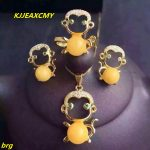 KJJEAXCMY Fine jewelry, 925 sterling <b>silver</b> beeswax three-piece jewelery plated with gold beeswax pendant <b>earring</b> ring