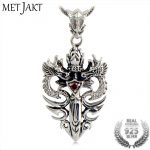 MetJakt Punk 925 <b>Silver</b> Double Dragon & Sword Pendant with Ruby and <b>Sterling</b> <b>Silver</b> Snake Chain Necklace Men's Necklace <b>Jewelry</b>