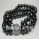 Beautiful black akoya cultured 3 rows 7-8mm round pearl beads noble bracelet <b>jewelry</b> <b>making</b> 7.5 inches MY2087