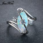 JUNXIN Unique Women Blue/White Fire Opal Stone Ring 925 Silver Color Luxury AAA Zircon Wedding <b>Jewelry</b> Promise Engagement Rings