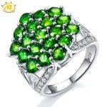 Hutang Solid 925 <b>Sterling</b> <b>Silver</b> 4.16ct Natural Chrome Diopside Wedding Ring Women's Gemstone Fine <b>Jewelry</b> 2017 New