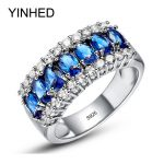90% OFF ! YINHED 100% Authentic 925 <b>Sterling</b> <b>Silver</b> Rings for Women Wedding <b>Jewelry</b> Fashion Blue Zircon CZ Engagement Ring ZR251