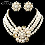CHRAN Luxury Rhodium Rows Costume Women Bridal <b>Jewelry</b> <b>Accessories</b> Lovely Faux Pearl Flower Wedding <b>Jewelry</b> Sets