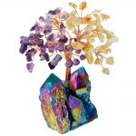 SUNYIK 4 Inch Natural Purple&Yellow Crystal Money Tree,Rainbow Aura Titanium Cluster Base Bonsai Figurine for Wealth and Luck