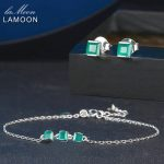 LAMOON Princess Cut Green Agate Chalcedony 925 Sterling <b>Silver</b> Jewelry Sets 2PCS S925 Fine Jewellery for Women Wedding V008-6