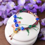 BOEYCJR Enamel Flower Stone Beads Bangles & Bracelets <b>Handmade</b> <b>Jewelry</b> Ethnic Energy Stone Beads Bracelet for Women Gift 2018
