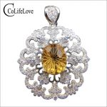 Baroque <b>silver</b> citrine pendant for party 10 mm * 12 mm 5 ct natural citrine necklace pendant solid 925 <b>silver</b> citrine <b>jewelry</b>