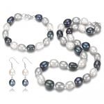 SNH 10mm A rice mixed color natural freshwater pearl set for wedding jewelry real 925 sterling <b>silver</b> free shipping